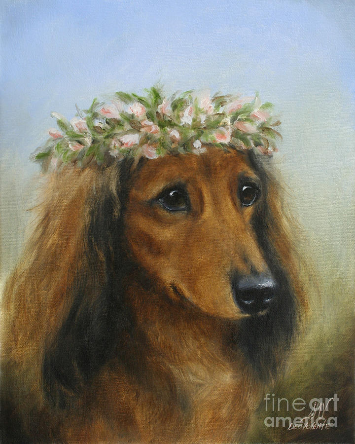 Dog Painting - The Little Flower Girl by Stella Violano