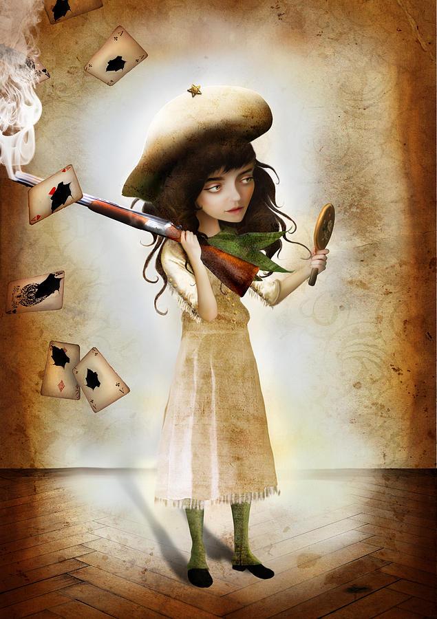 Annie Oakley Digital Art - The Little Sharpshooter by Jessica Von Braun