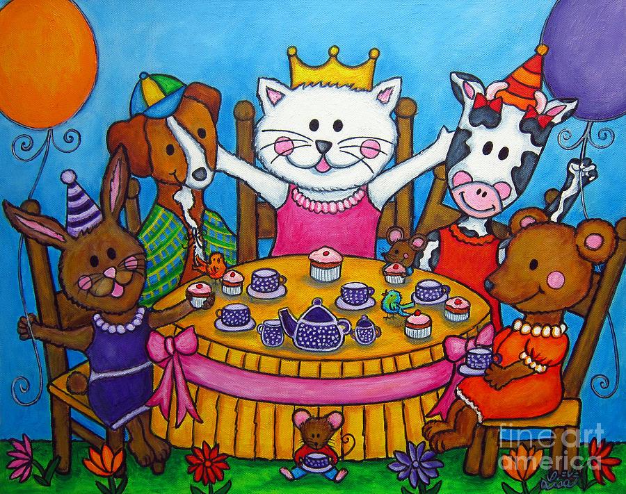 Kitten Painting - The Little Tea Party by Lisa  Lorenz