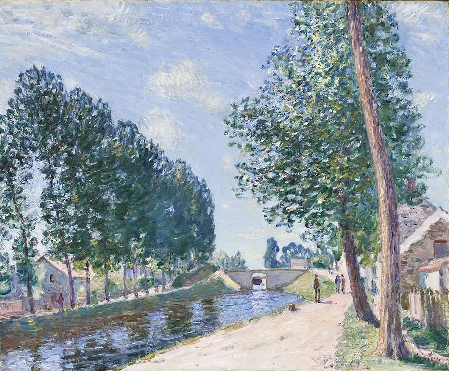 Impressionist Painting - The Loing Canal At Moiret by Alfred Sisley