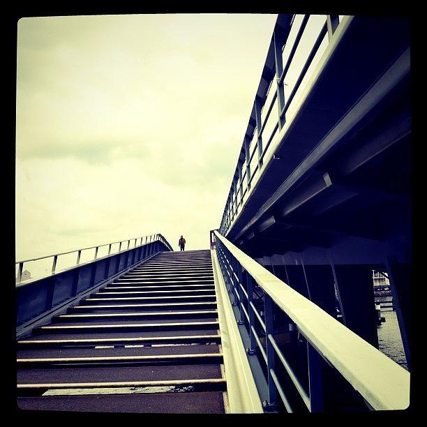 Bridge Photograph - The Lone Pedestrian. #bridge by Robbert Ter Weijden
