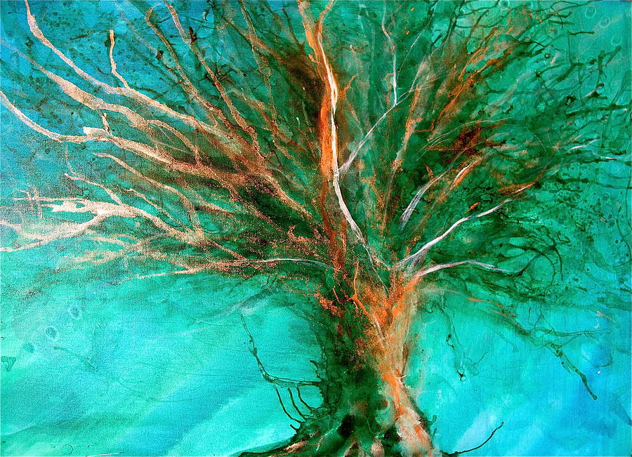 Abstract Tree Painting - The Lone Tree by Heather Matthews