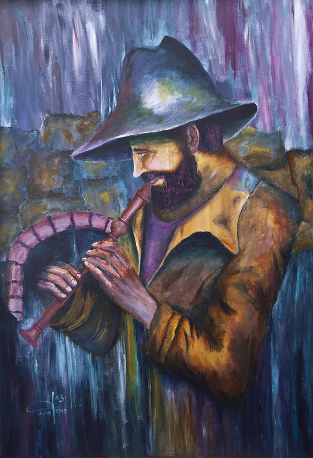 Flute Painting - The Lonely Shepherd by Itzhak Richter