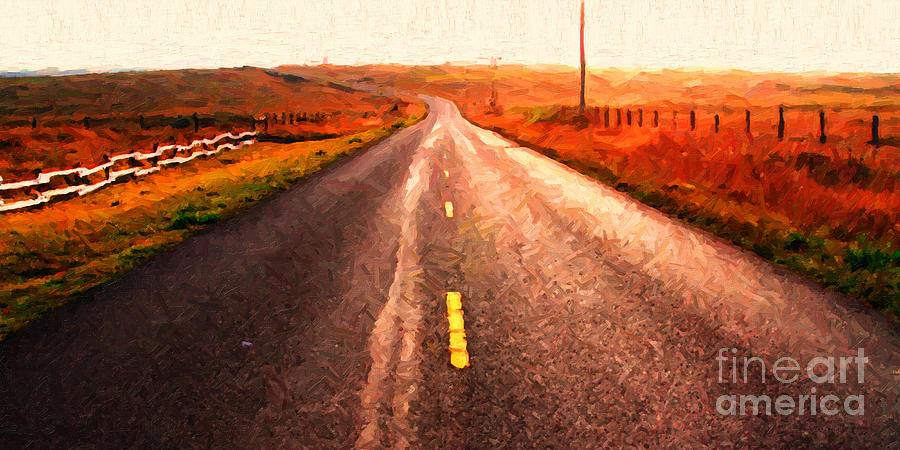Long Photograph - The Long Road Home . Painterly Style . Wide Size by Wingsdomain Art and Photography