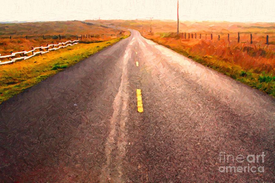 Philosophical Photograph - The Long Road Home . Painterly Style by Wingsdomain Art and Photography