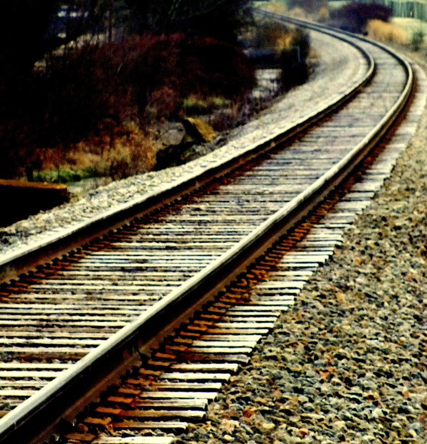 Railroad Tracks Photograph - The Long Way Home by Karen Wiles