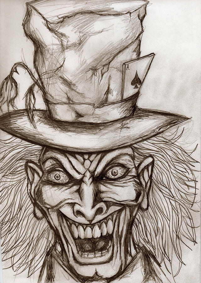 Mad Hatter Drawing - The Mad Hatter by Michael Mestas