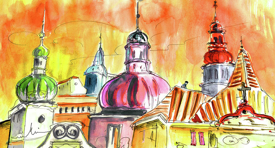 Travel Painting - The Magical Roofs Of Prague 01 Bis by Miki De Goodaboom