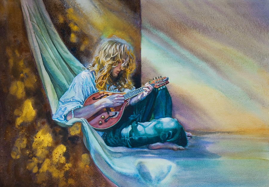 Boy Painting - The Mandolin Player by Gilly Marklew