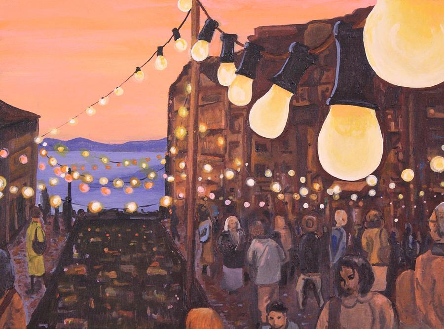 Market Painting - The Market At Dusk by Jennifer Lynch