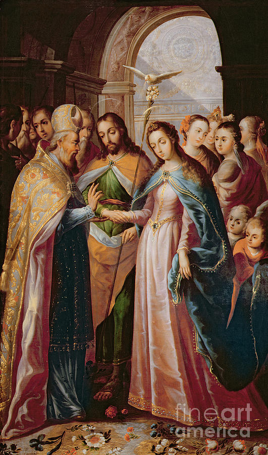 The Marriage Of Mary And Joseph Painting By Mexican School