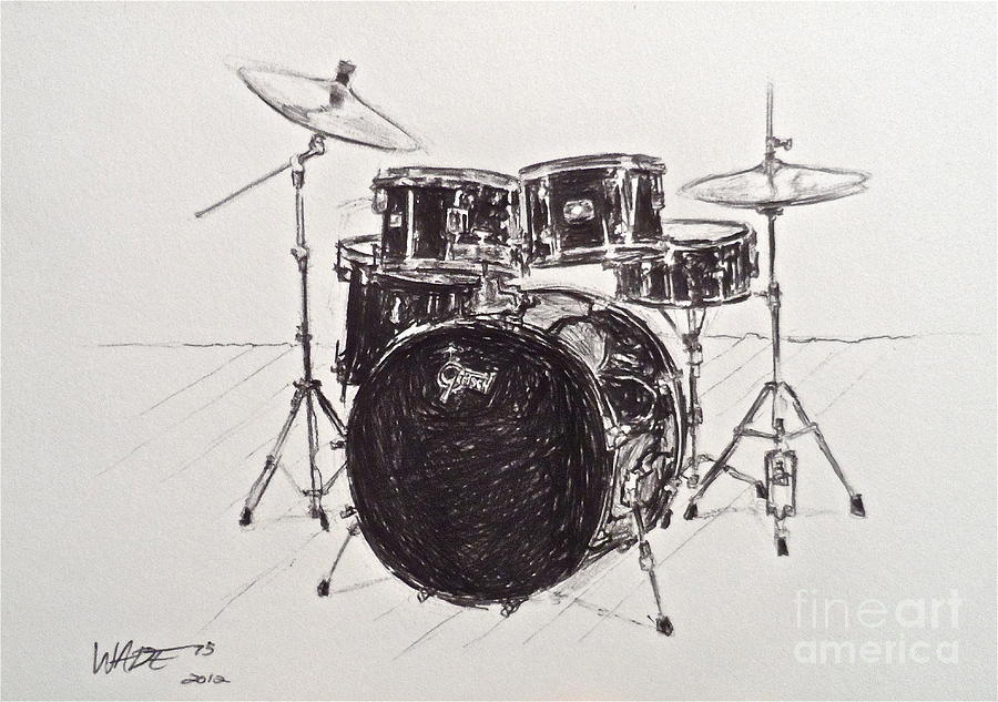 Drums Drawing - The Master Set by Wade Hampton