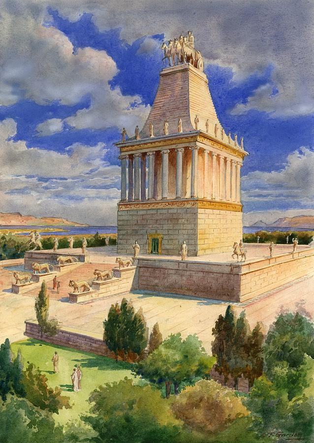 The Mausoleum At Halicarnassus Painting by English School