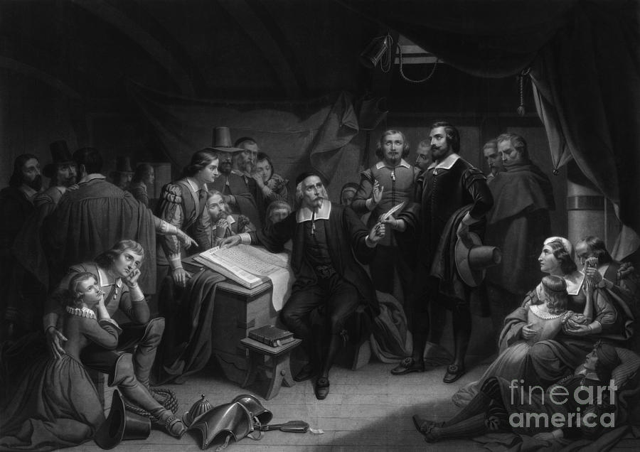 History Photograph - The Mayflower Compact, 1620 by Photo Researchers