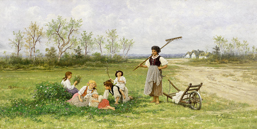 The Midday Rest Painting - The Midday Rest by Franciszek Streitt