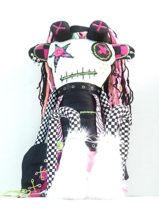 Doll Sculpture - The Misfit Cyberpunk Pussy Cat Jones Version 1.0 by Oddball Art Co by Lizzy Love