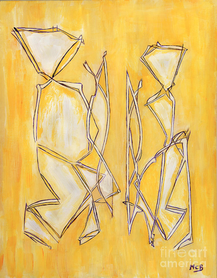 Best Abstract Painting - Unique Abstract Art Giclee Canvas Print Original Painting The Couple Decorator Line Art Yellow White by Marie Christine Belkadi