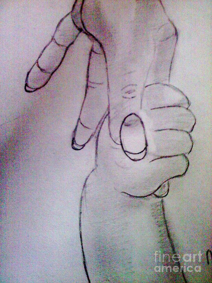 The Mom And A Child Holding Hands Drawing By Charita Padilla