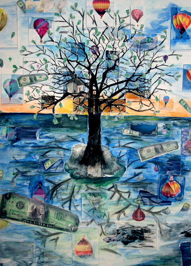 Hot Air Balloons Painting - The Money Tree by Kate Fortin