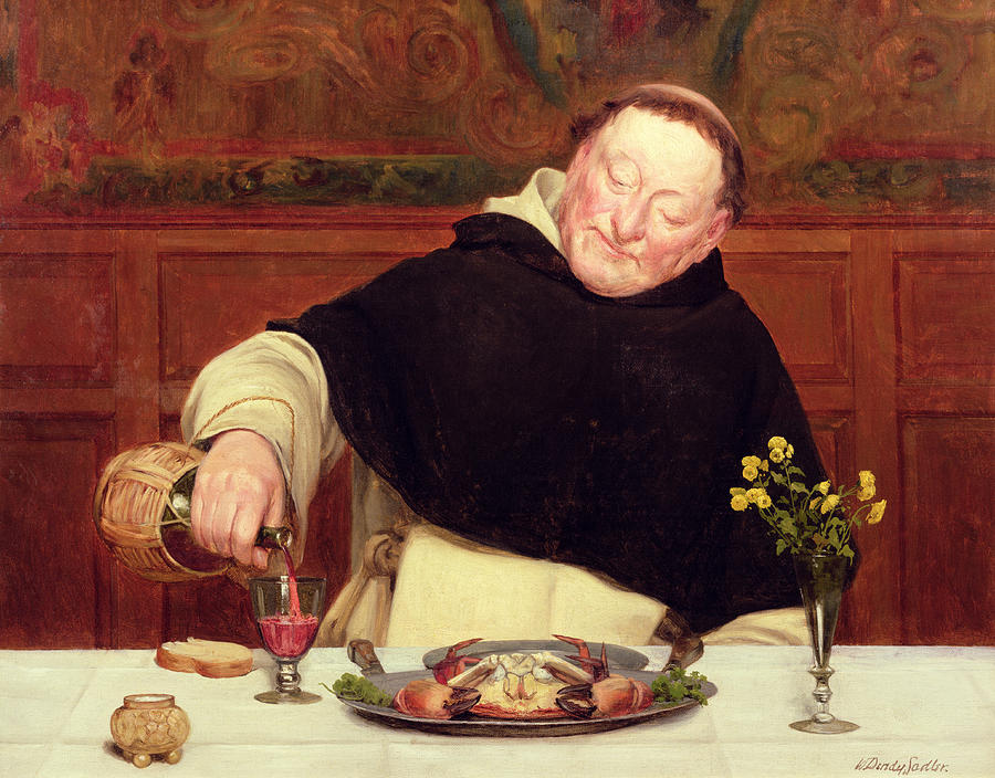 The Monk's Repast Painting - The Monks Repast by Walter Dendy Sadler