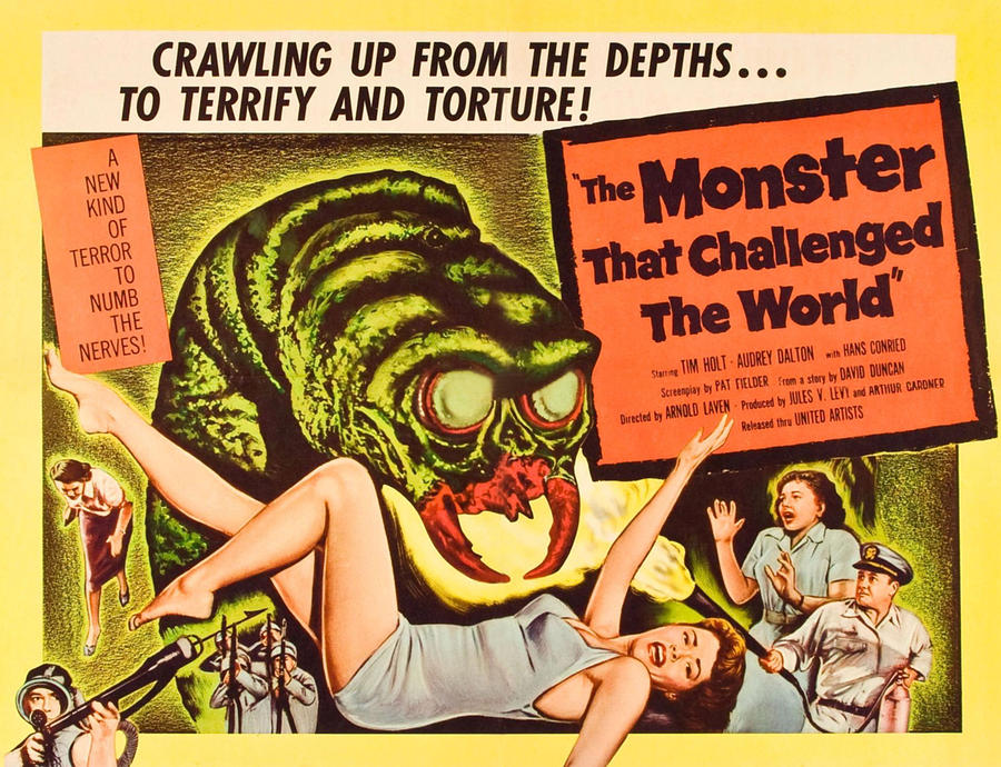 1958 Movies Photograph - The Monster That Challenged The World by Everett