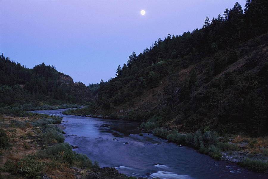 Moons Photograph - The Moon Appears Over The Rogue River by Melissa Farlow