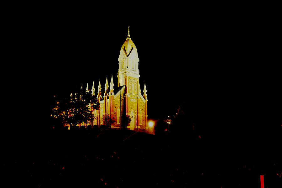 Night Photos Photograph - The Morman Temple In Brigham City by Jeff Swan