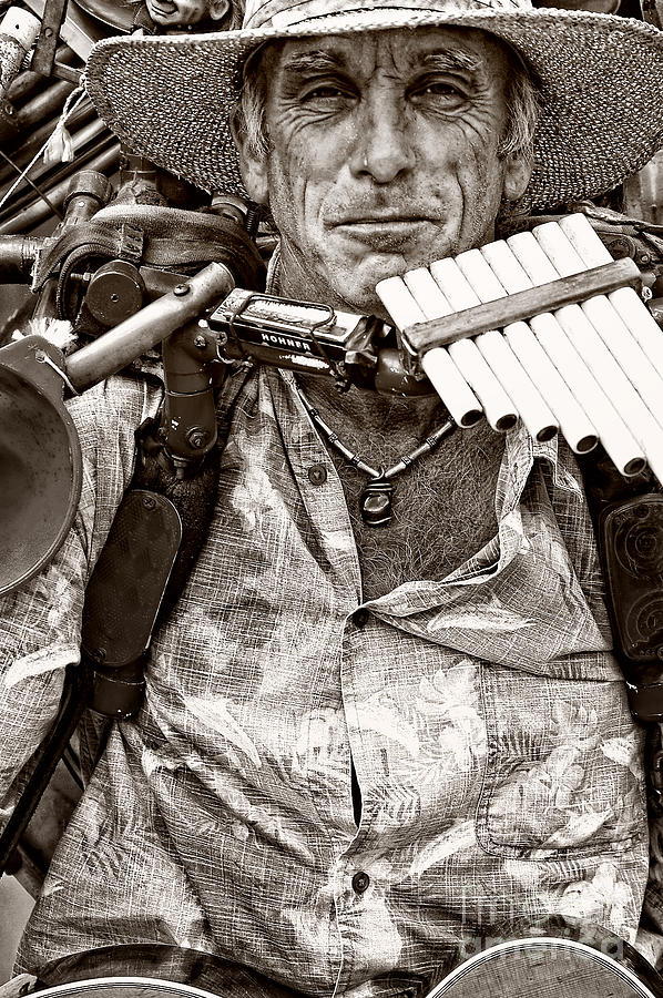 Man Photograph - The Music Man - Monochrome by Kathleen K Parker