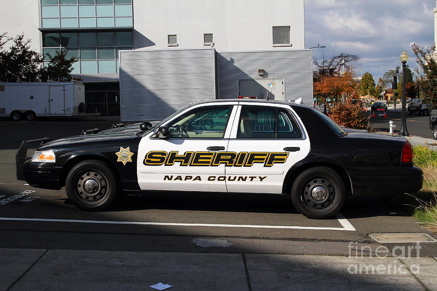 Napa County Photograph - The Napa County Sheriff Car In Napa California Wine Country by Wingsdomain Art and Photography