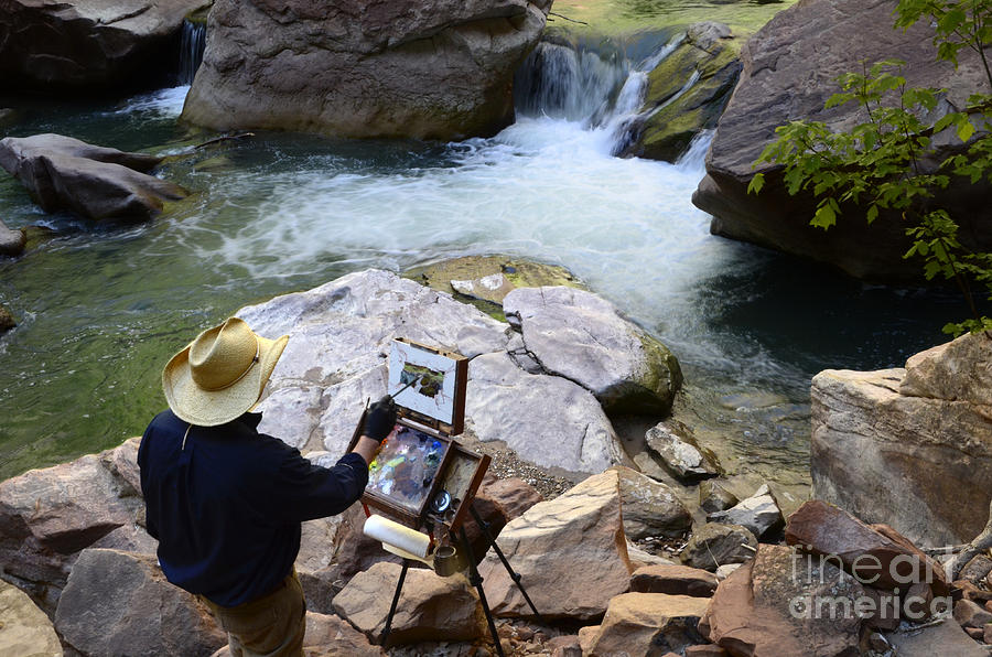 Virgin River Photograph - The Narrows Quality Time by Bob Christopher