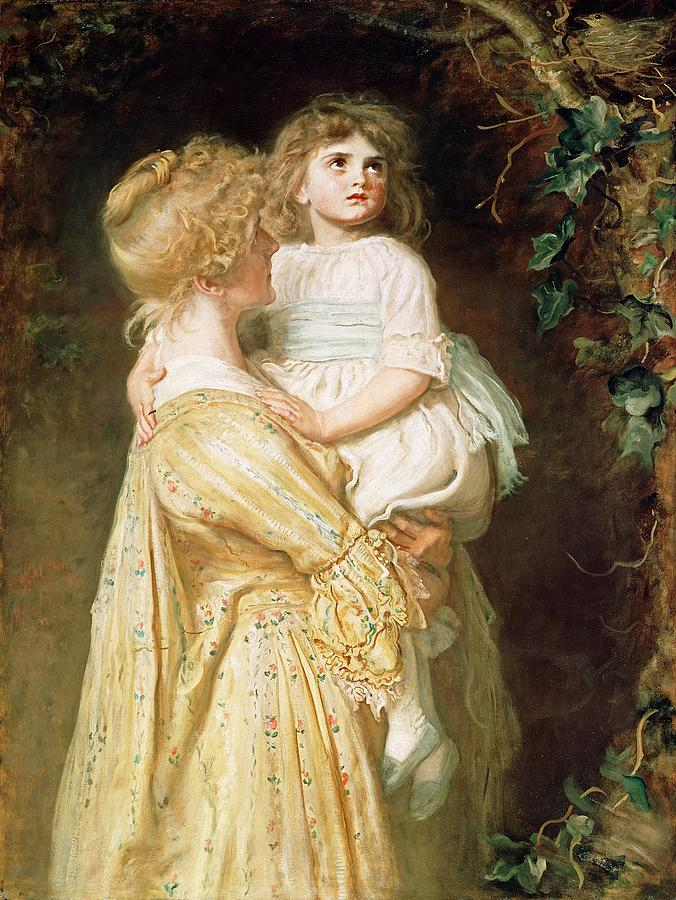 Holding Painting - The Nest by Sir John Everett Millais