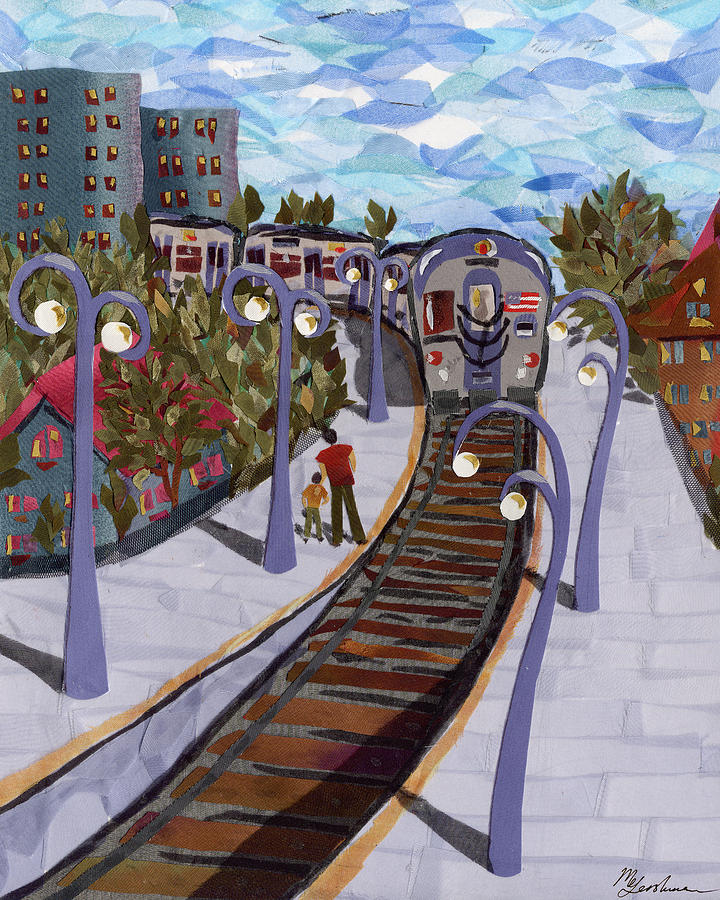 Train Tapestry - Textile - The Next Stop Is... by Marina Gershman