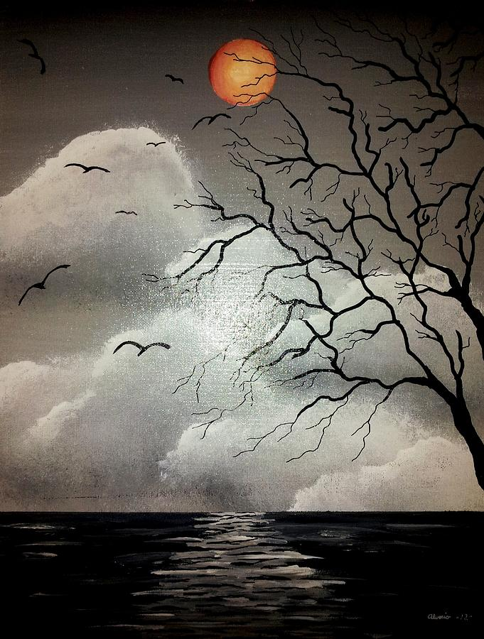 Night Painting - The Night Of The Blood Red Moon by Edwin Alverio