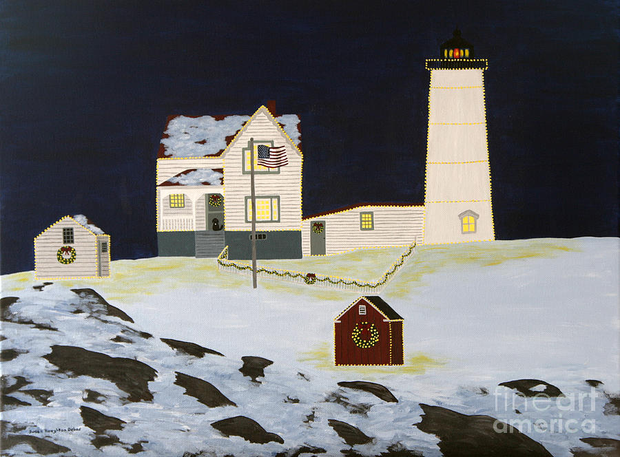 Lighthouse Painting - The Nubble by Susan Houghton Debus