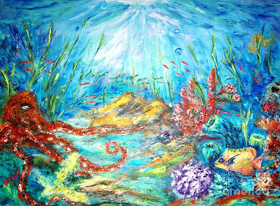 Octopus Painting - The Ocean by Mary Sedici