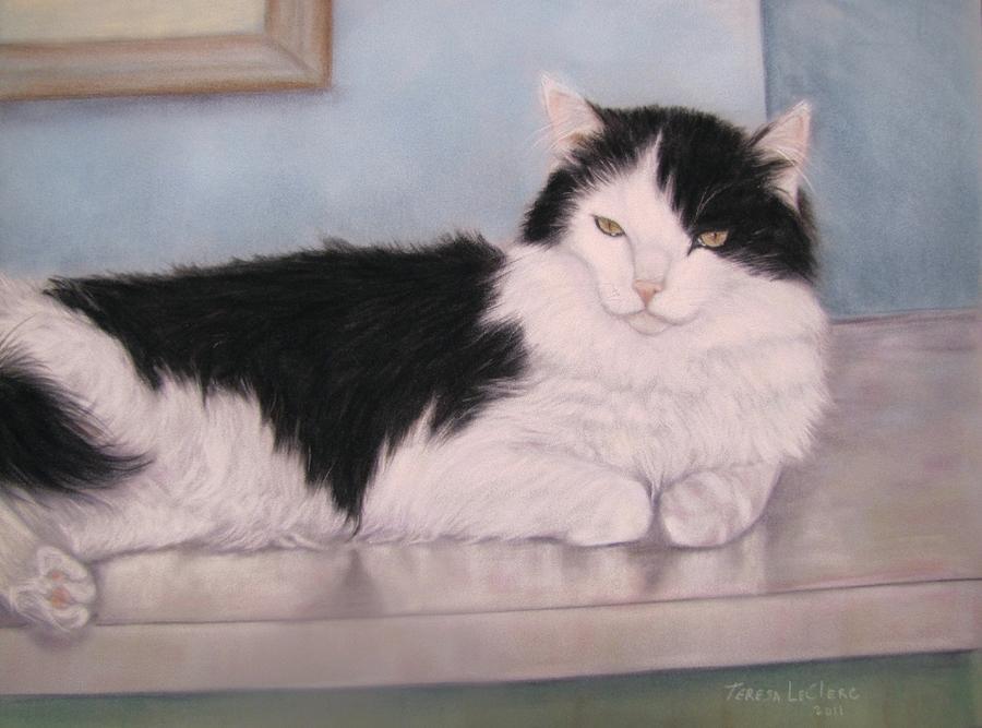 Cat Pastel - The Office Cat by Teresa LeClerc