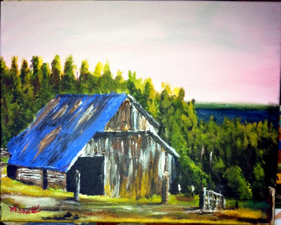 Barn Painting - The Old Barn by M Bhatt