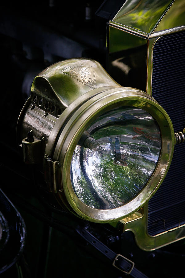 Vintage Ford Photograph - The Old Brass Ford Headlight by Steve McKinzie