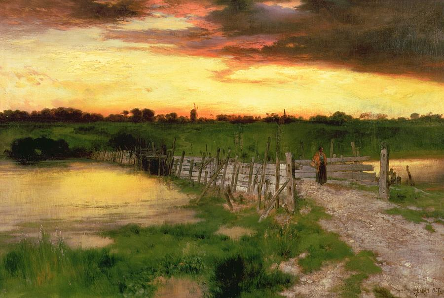 Setting Painting - The Old Bridge Over Hook Pond by Thomas Moran