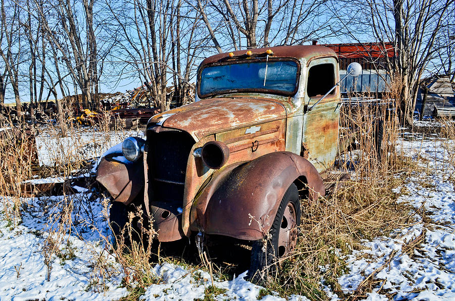 Old Photograph - The Old Chevy by Brenda Becker
