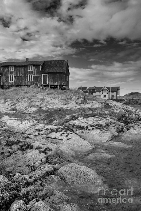 Norway Photograph - The Old Fishermans Hut Bw by Heiko Koehrer-Wagner