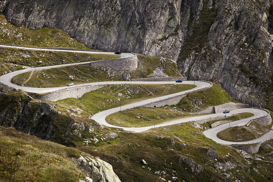 Horizontal Photograph - The Old Road To Gotthard Pass by Buena Vista Images