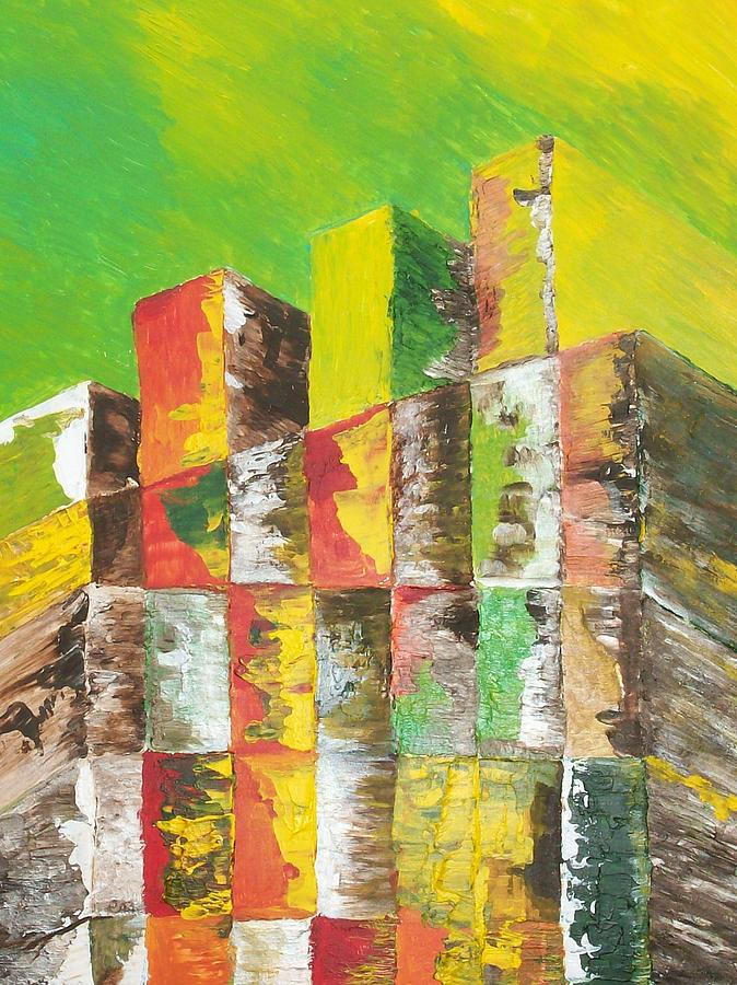 Abstract Painting - The Old Stack Of Wood by Roy Penny