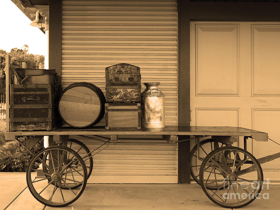 Train Station Photograph - The Old Train Depot  - 5d18420 - Sepia by Wingsdomain Art and Photography
