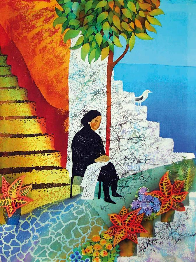 Greece Tapestry - Textile - The Old Woman And The Sea by Kate Krivoshey