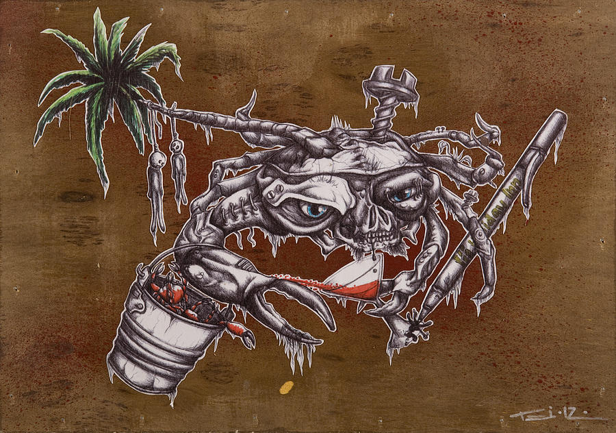 Crab Painting - The One Who Escapes The Bucket Often Toasts With The Wicked by Tai Taeoalii