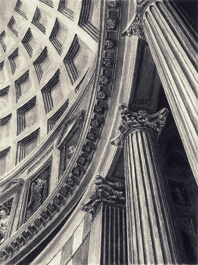 Pantheon Drawing - The Pantheon by Norman Bean