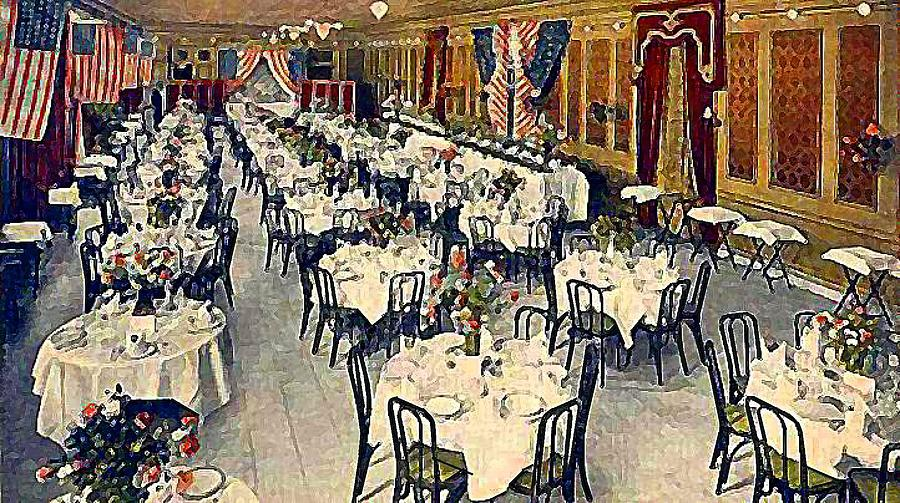 Hotels Painting - The Park Avenue Hotel Banquet Hall In 1910 by Dwight Goss