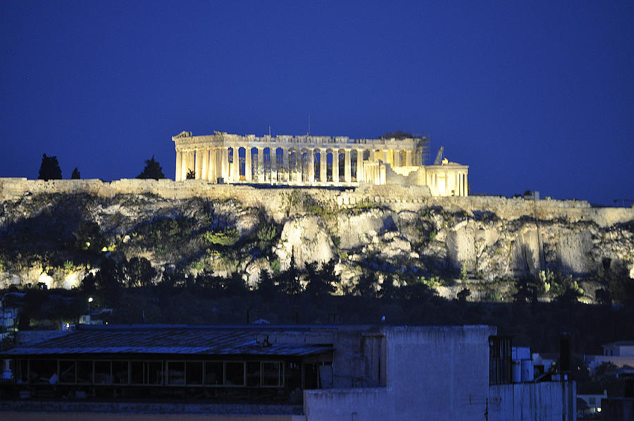 Parthenon Photograph - The Parthenon At Night by MaryJane Armstrong