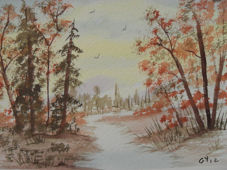 Watercolor Pathway Painting - The Pathway by Ginny Youngblood